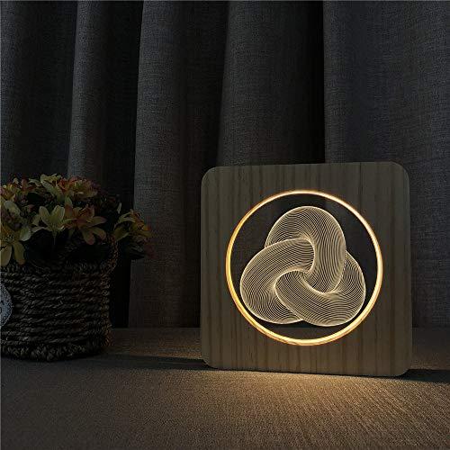 Kinder zurück zu Schule Dekoration Geschenke abstrakte Knoten aus Holz Nachtlicht Tischlampe Schalter Kontrolle Gravur Lampe