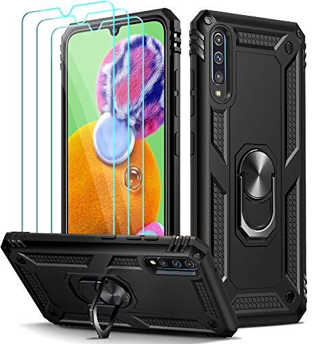 ivoler für Samsung Galaxy A90 5G Hülle mit [Panzerglas Schutzfolie *3], Militärischer Schutz Stoßfest Handyhülle Anti-Kratzer Schutzhülle Hülle Cover mit 360 Grad Ring Halter, Schwarz