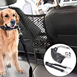 STARROAD-TIM Car Dog Barrier Pet Front Seat Barrier Adjustable Pet Belt Safety Leads Vehicle Seatbelt Harness Car Backseat Barrier Net Organizer Universal Fit