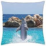 N\A Cojín Decorativo Delfín Acuario Saltando Peces Animal Océano Agua 1