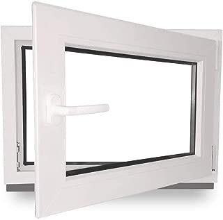 wei/ß Breite: 60 cm BxH: 60x100 cm DIN Links Isolierglas Dreh Kipp Kellerfenster Kunststoff Fenster 2 fach Verglasung Premium