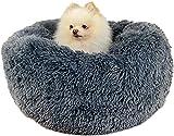 Camas para perros Calming Donut Cuddler, cama para perros pequeños, gatos, gatitos y cachorros, lavable a máquina (40 cm, gris oscuro)