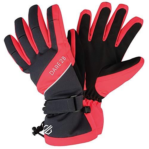 Dare 2b Damen Acute Waterproof & Breathable Padded Ski & Snowboard Glove with Warm Scrim Lining Handschuhe, Ebony/Fiery Coral, Größe S