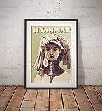 AZSTEEL Vintage Poster Myanmar - Long Neck Woman Green