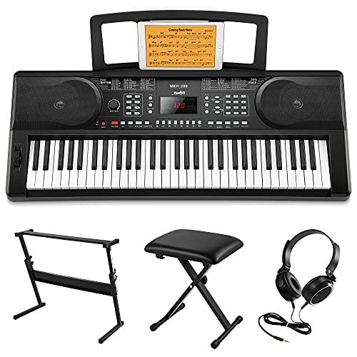 Moukey 61 Tasto Tastiera Musicale di Pianoforte, Portatile Elettronica Pianola con Stand pianoforte/Panchina/Leggio per spartiti/Digitale Pianoforte Nota Adesivi per Principianti, MEK-200