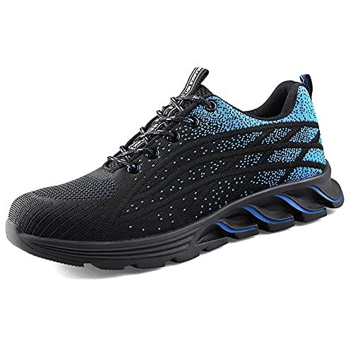 HYCOPROT Zapatos De Seguridad para Hombres y Mujeres, Zapatillas con Punta De Acero, Zapatos De Trabajo Ligeros y Transpirables, Zapatos Deportivos De Seguridad con Colchón (Azul, Numeric_43)