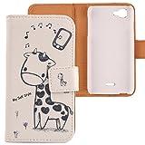 Lankashi PU Flip Leder Tasche Hülle Case Cover Schutz Handy Etui Skin Für Wiko Kite 4G Giraffe Design