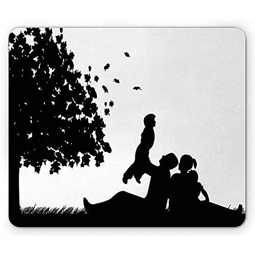 Familien-Mausunterlage,Familie,Die EIN Picknick Im Park In Der Herbstsaison Unter Einem Großen Baum-Schattenbild,Rutschfestes Gummi-Mousepad des Rechtecks Hat
