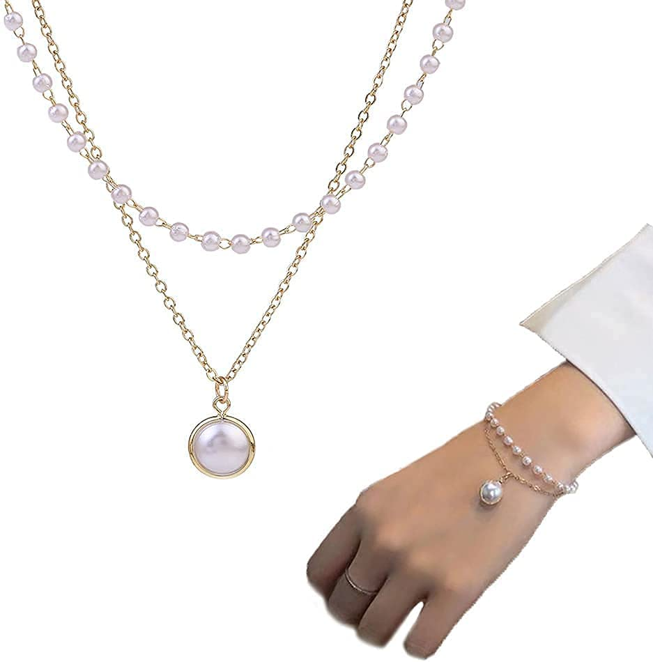 Layered Pearl Necklace Bracelet Set for Women Girls Gold Choker Necklace Layered Bracelets Jewelry Set for Women Birthday Christmas Valentines Day Gifts for Her
