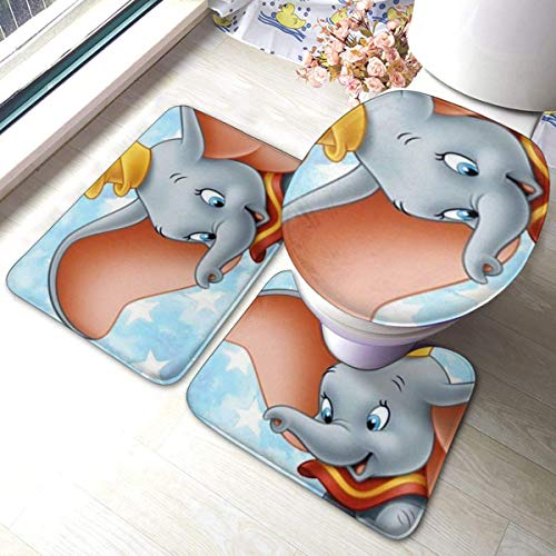 LemonSisterShop Dumbo Playing Near Me Bathroom Astronaut Toilet Cover Mat Non-Slip Floor Mat Rug Bathroom 3 Sets