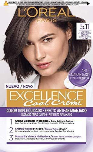 L'Oréal Paris L'Oréal Paris Excellence Cool Creme Tinte Permanente, Tono 5.11 Castaño Claro Ceniza Intenso 260 g