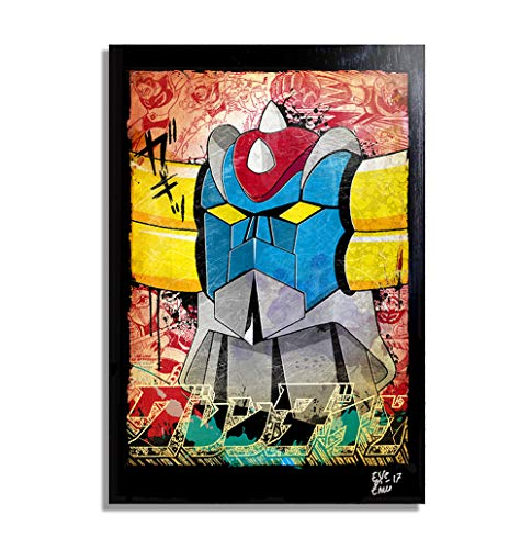 UFO Robot Goldorak (UFO Robo Grendizer) - Pintura Enmarcado Original, Imagen Pop-Art, Impresión Póster, Impresion en Lienzo, Cuadro, Cómics, Cartel de la Película, Anime, Manga