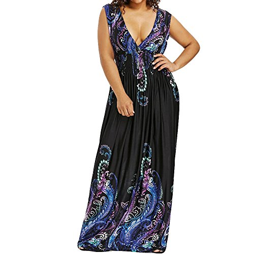 FRAUIT zomerjurk dames print mouwloze open rug maxi-jurk strandjurk lang partyjurk maxi jurk met gekarteld patroon elegant cocktail baljurk