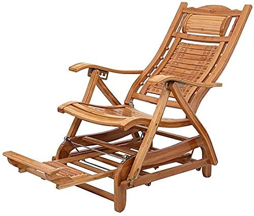 FTFTO Office Life Folding Chair, Recliner Bamboo Wood Lounge Chair Folding Non-Slip Comfortable Massaging Reclining Foot Massager Suitable for Indoor and Outdoor