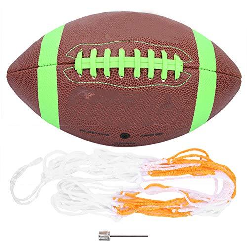 ユース弾性サイズ6ラグビー、ラバーラグビー、サッカーゲームトレーニング用の屋外軽量ボールスポーツボール(green)