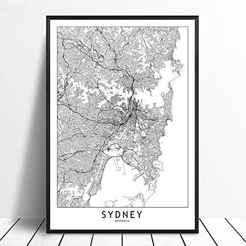 Cuadro sobre Lienzo,Póster Minimalista En Blanco Y Negro De Sydney, Mapa De La Ciudad del Mundo Personalizado, Lienzo, Impresión En HD, Estilo Nórdico, Arte De Pared, Decoració