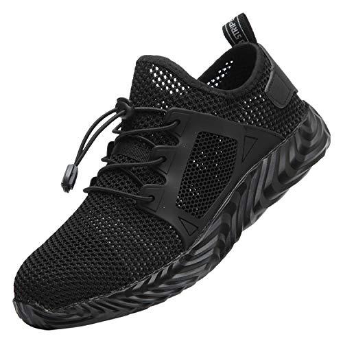 Santimon Herren Arbeitsschuhe Sicherheitsschuhe Anti-Rutsch Leichtgewicht Mode Atmungsaktiv Klassisch Stahlkappen Schuhe Schwarz 35 EU