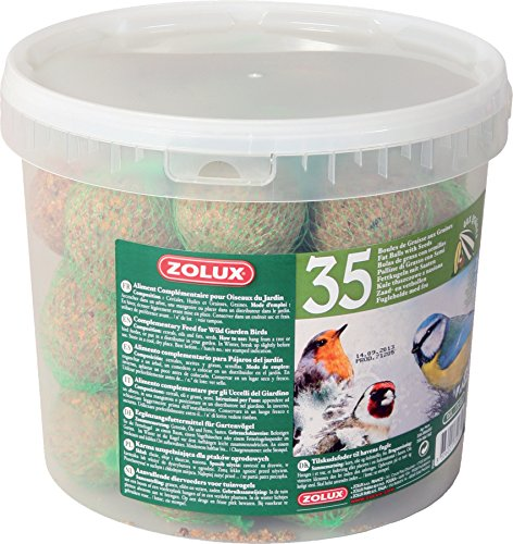 Zolux Seau de 35 Boules de Graisse de 90g avec Filet pour Oiseaux du Ciel