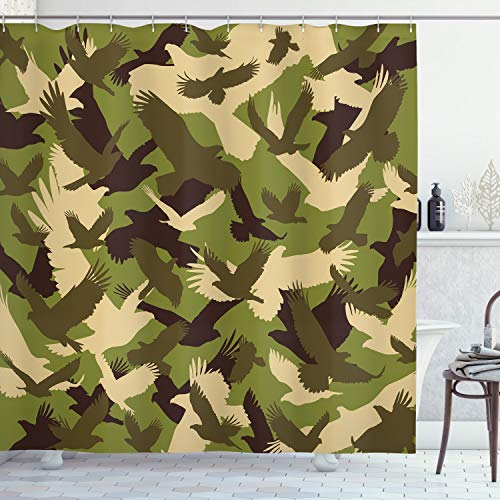 ABAKUHAUS Adler Duschvorhang, Offene Flügel Camouflage, mit 12 Ringe Set Wasserdicht Stielvoll Modern Farbfest & Schimmel Resistent, 175x220 cm, Dunkelbraun Armeegrün Creme