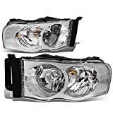 Pair of Chrome Housing Clear Corner Headlight Assembly Headlamps Replacement for Dodge Ram 1500 2500...