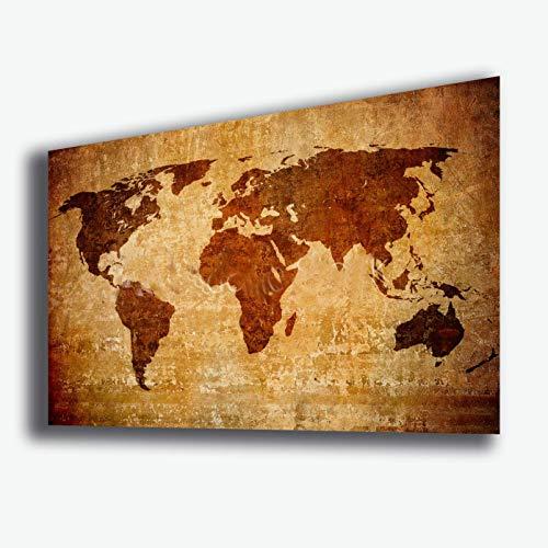 Cuadro mapa del mundo 30 x 50 cm continente vintage impresión sobre...