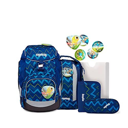 ergobag pack Set - ergonomischer Schulrucksack, Set 6-teilig - FallrückziehBär - Blau, einheitsgröße