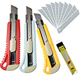 WEKOIL Utility Knives Retractable Box Cutter,18mm Wide Snap Off Blade Knife,11 Carbon Steel Blades,Hobby Art Paper Knives with Comfortable Handle,Heavy Duty for Office Home Warehouse,Color Assorted