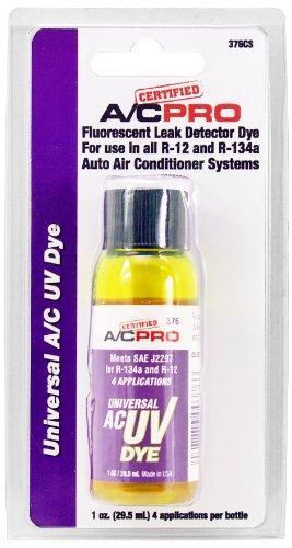 InterDynamics Certified AC Pro Car Air Conditioner Leak Detector Dye, UV Dye for R12, R22, and R134A Refrigerant Systems, 1 Oz, 376CS