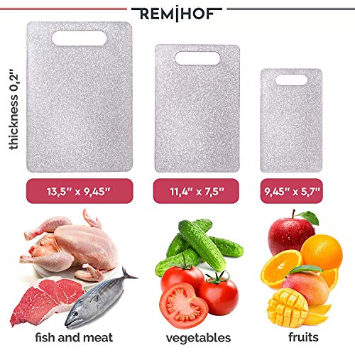 REMIHOF Plastic Cutting Board Set for Kitchen Dishwasher Safe (3 Piece) - Reversible Chopping Boards with Grip Handle - Perfect for Vegetables, Fruit, Meat, and Fish (Silver)