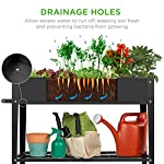 Best choice products elevated mobile raised ergonomic metal planter garden bed for backyard, patio w/wheels, lower shelf… 10 drainage holes: allows excess water to drain out, preventing root rot and oversaturation while keeping the soil fresh multipurpose storage: get the most out of your planting and storage space with a large-sized planter. Designed with a built-in storage shelf for easy-access to your gardening accessories ergonomic handlebar: comes equipped with an adjustable handlebar that can attach to either the top or bottom of the planter, making it easy to maneuver according to your need