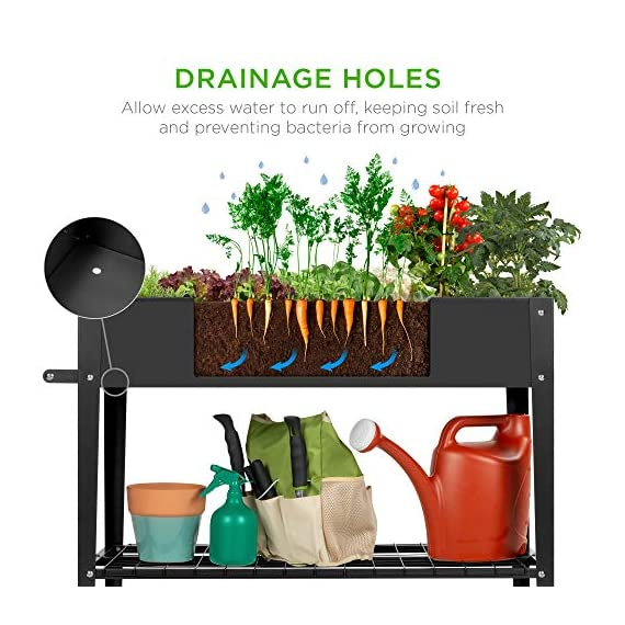 Best choice products elevated mobile raised ergonomic metal planter garden bed for backyard, patio w/wheels, lower shelf… 3 drainage holes: allows excess water to drain out, preventing root rot and oversaturation while keeping the soil fresh multipurpose storage: get the most out of your planting and storage space with a large-sized planter. Designed with a built-in storage shelf for easy-access to your gardening accessories ergonomic handlebar: comes equipped with an adjustable handlebar that can attach to either the top or bottom of the planter, making it easy to maneuver according to your need