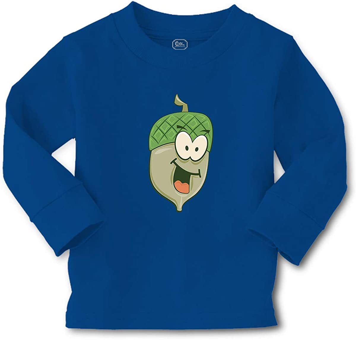 Kids Long Sleeve T Shirt Smiling Cartoon Acorn Cotton Boy & Girl Clothes Funny Graphic Tee Royal Blue Design Only 4T