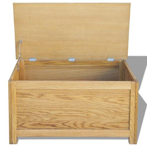 Festnight Holz Aufbewahrungstruhe aus Eichenholz Aufbewahrungsbox Holztruhe 90 x 45 x 45 cm - 5