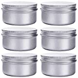 Hulless 4 Ounce Aluminum Cans 120 mL Screw Lid Metal Storage Tins Containers for Storing Spices, Candies, Lip Balm, Candles, 6 Pcs.