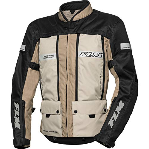 FLM Motorradjacke mit Protektoren Motorrad Jacke Sommerreise Textiljacke modular 1.0 Sand L, Herren, Enduro/Reiseenduro, beige
