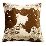 Fennco Styles Rustic Faux Fur Cow Hide 28 x 28 Inch Decorative Throw Pillow Case – Brown Fur Pillow Case for Couch, Bedroom and Living Room Décor