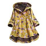 aihihe Winter Warm Coats for Women Plus Size Long Length Vintage Floral Print Faux Fur Hooded Coats Jackets Parka