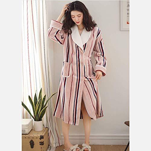 GNLIAN HUAHUA Homewear Invierno Bata Bata de Manga Larga Camisones de algodón de la Ropa Interior del camisón del Kimono Mujer Robes Caliente más el tamaño de Las Mujeres Albornoz Homewear, M Vendaje