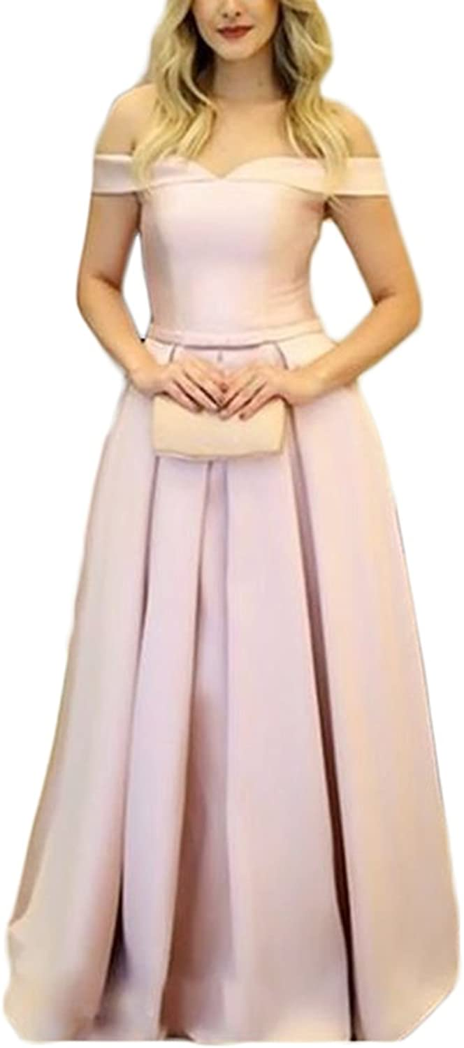 Alilith.Z Sexy Off The Shoulder Satin Prom Dresses A Line Long Formal Evening Party Gowns Women