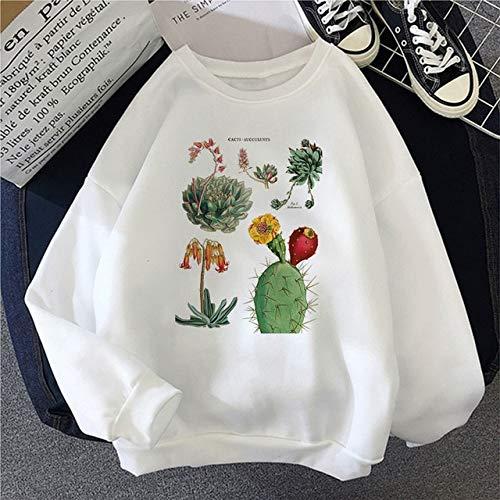 New Harajuku Plant Cactus Fleshy Cute Letter Print Female Sweatershirt Ulzzang Tops Fashion Loose Casual O-Neck Retro Womens Clothes XL 2