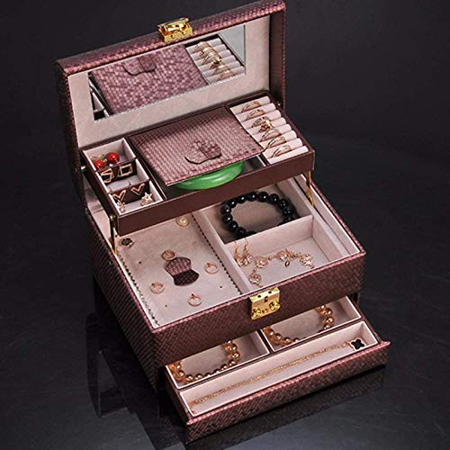 Jewelry Box for Women, Leather Jewelry Box,semi-linked Design Lockable Multi-layer Jewelry Box Travel Case for Ring Necklace Earring Ear Stud Bracelet Brooch(wine Red) Organizer Multipurpose Treasure