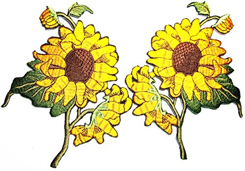 Sonnenblumen-Paar Blumen Pflanze Blume Granny Chic Retro Boho Liebe Hippie Biker Rider Motorrad Biker Patch Logo Jacke T-Shirt Patch DIY Applique Bestickter Aufnäher Aufbügler
