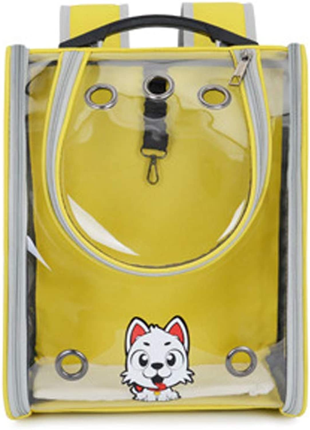 LUYION Pet Backpack Dog Transparent Space carrier Breathable Puppy Out Carrying Bag for Cat Travel Outdoor Activity,Yellow