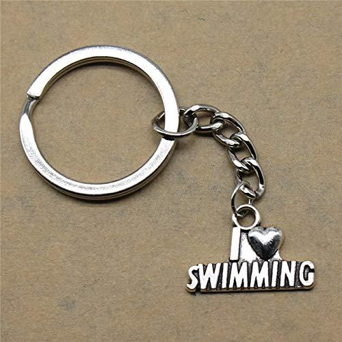 JLZK Schlüsselanhänger für eine Frau I Herz Schwimmen Hochzeitsgeschenke für Gäste Souvenirs 22X15Mm Anhänger Silber Farbe