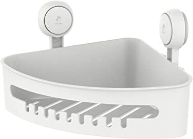 LEVERLOC Corner Shower Caddy Suction Cup NO-Drilling Removable Bathroom Shower Shelf Heavy Duty Max Hold 22lbs Caddy Organize