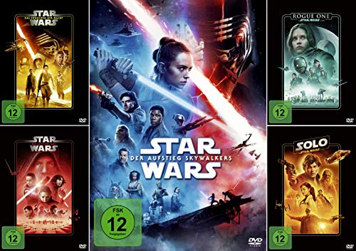 Star Wars Paket - Das Erwachen der Macht (7) + Die letzten Jedi (8) + Der Aufstieg Skywalkers (9) + (Rogue One + Solo - Star Wars Story) [5-DVD]