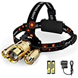 LED Headlamp Bright Rechargeable Head lamp with 6000 Lumen, 3 LED Head, Full Metal Jacket, 4 Light Mode, Zoomable, Perfect for Camping, Hiking, Garage, 2 Rechargeable Batteries Included