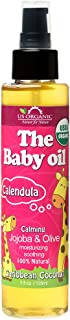 US Organic Baby Oil with Calendula, Smooth Caribbean Coconut,Certified Organic by USDA,Jojoba & Olive Oil with Vitamin E, ...