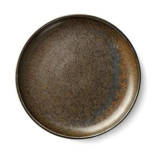 ZZRR Vajilla de Cocina, Platos de cerámica, Platos Occidentales creativos, se Puede Utilizar para bistec, Pasta, ensaladas, etc, Apto para microondas, lavavajillas, Negro, 10 Pulgadas (26 cm × 3 cm)