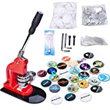 Seeutek Button Maker Machine Badge Maker 1 inch 25mm with 500 Pcs Button Parts and 1 inch 25mm Circle Cutter